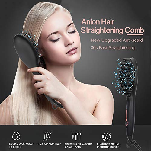 Hair Ionic Straightening Brush Ceramic Heating Brush Straightener Fast and Easy Straight for Travel/Home Straighteners Brush Best Gifts for Women/Mom Wenniu