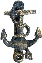Cast Iron Blue Sailors Anchor Door Knocker with Gold Finish c1