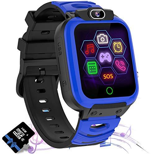 Jaybest Smartwatch Niños, Reloj Inteligente Niños de MP3 1.44 Pantalla Táctil en Color con Llamada Juego Cámara Música (Blue)