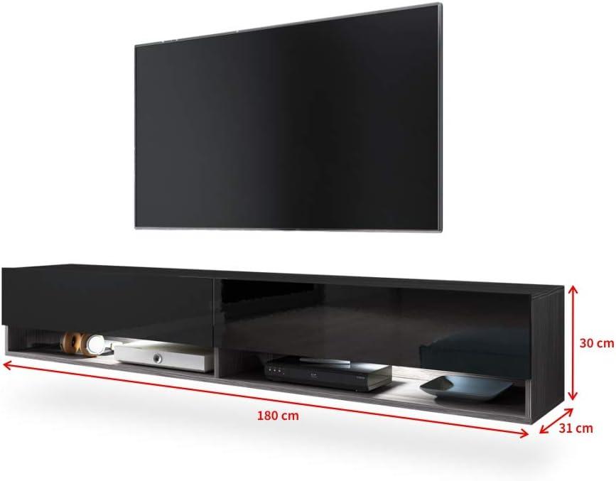180 cm, sin LED, Roble Gris Mueble TV Suspendido//Mesa TV//Mueble para Sal/ón Selsey Wander