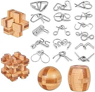 Brain Teaser Puzzle 20Pcs Unlock Interlock Game IQ Test Wooden Toy 3D Unlock Interlock Puzzle Magic Ball Brain Teaser Toy