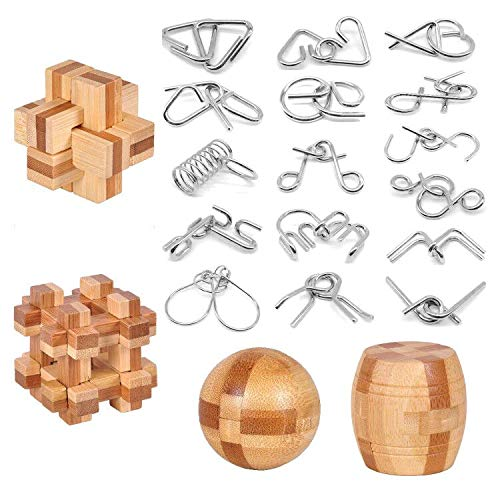 brain teaser games for adults Brain Teaser Puzzle 20Pcs Unlock Interlock Game IQ Test Wooden Toy 3D Unlock Interlock Puzzle Magic Ball Brain Teaser Toy puzzles for adults