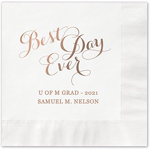 Best Day Ever Personalized Luncheon Dinner Napkins - Canopy Street - 100 Custom Printed White Paper Napkins with choice of foil stamp