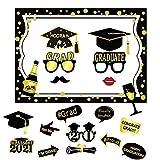Dsaren 20 Piezas Graduation Photo Booth Props Universidad 2021 Glitter Gafas Bigote Sombrero Graduacion Cabina de Fotos Accesorios Graduación Decoración de Fiesta Regalos (23 Piezas)