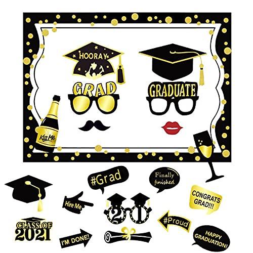 Dsaren 20 Pezzi Graduation Photo Booth Laurea 2021 Photo Booth Props Accessori Selfie Bicchieri Mustache Glitter Occhiali Cappelli per Regali Laurea Decorazioni Festa Partito