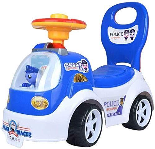 Veiligheidscadeau Kinderen Vierwielige loopfiets Rit op speelgoed Kinderwagen Duw mee Kinderfiets Peuter Walker Babybalansspeelgoed, blauw