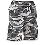 Guide Gear Cargo Shorts for Men Knit, Great for Casual Lounge, Hiking, Summer, Regular Big and Tall Sizes, Gray Camo, Large