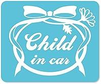 imoninn CHILD in car ステッカー 【マグネットタイプ】 No.29 お花リボン (水色)