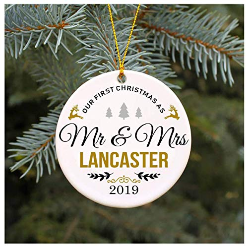 Xmas Tree Ornament Covid 2020 Ornament Our First Christmas As Mr & Mrs Lancaster Ornament, Decorative Ornament/Keepsake, 3' Flat Ceramic Ornament, Xmas Gift, Newlyweds Gift, Gift for Couples