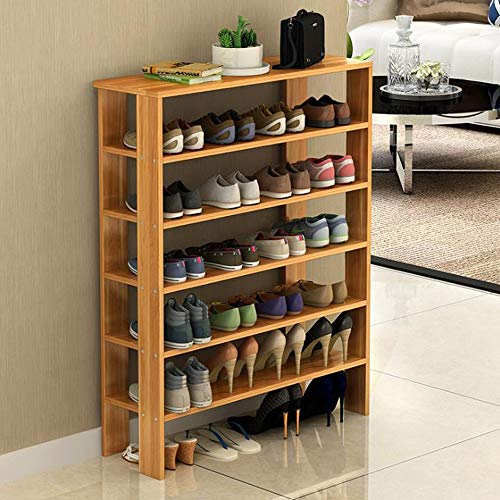 M-YN Zapatero 6 Niveles de Madera apilable Extensible con el Organizador de Almacenamiento Permanente del Soporte del cajón for los Zapatos de 24 Pares fáciles de Montar (Size : 75 * 24 * 91CM)
