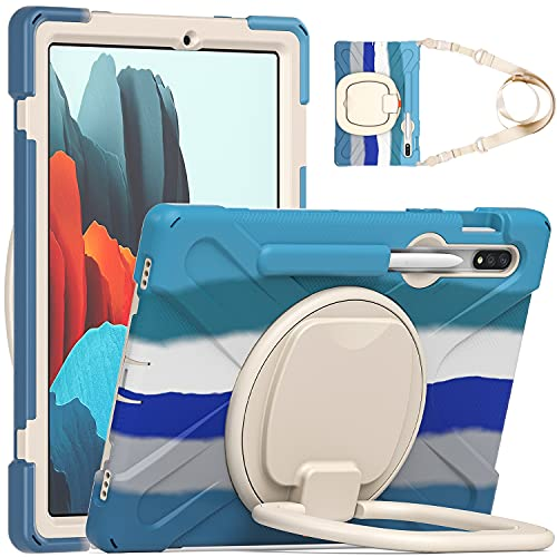 BlinkCat iPad Case for Samsung Galaxy Tab S7 11' 2020, Full Body Rugged Drop Protection Hybrid Shockproof Protective with 360 Rotating Grip Stand / Shoulder Strap / Pencil Holder- Colourful Blue