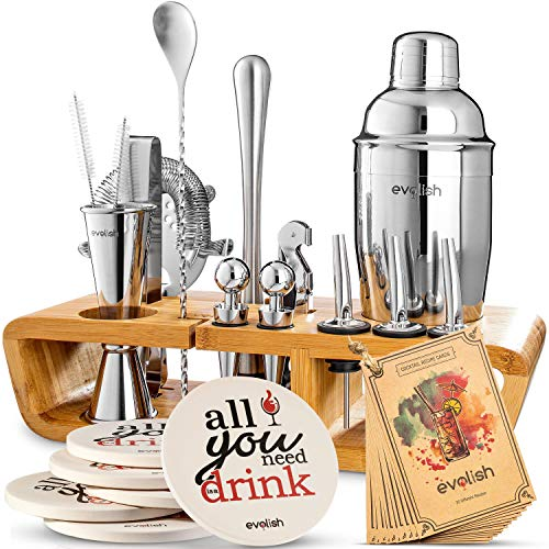 Bar Set Cocktail Shaker Set for Home: 25 Piece Mixology Bartender Kit With Stand | Ideal Gift Bartending Set for an Amazing Drink Mixing Experience | Bar tool set with Recipes & Coasters by Evolish