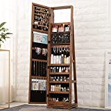 OUTDOOR DOIT QB2 360 Rotating Lockable Full Mirror Jewelry Organizer Wall Mounted/Door Mounted Jewelry Box For Women/Jewelry Cabinet Jewelry Armoire With Mirror/Full Length Mirror Brown