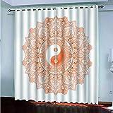 cortina opaca termica - Cortinas Opacas Telas Termicas Aislantes Frio Calor Ruido Luz Rayos UV para Salon y Dormitorio Conjunto Cortina (Diagrama de Yin Yang Bagua - W168X183cmX2 panel)