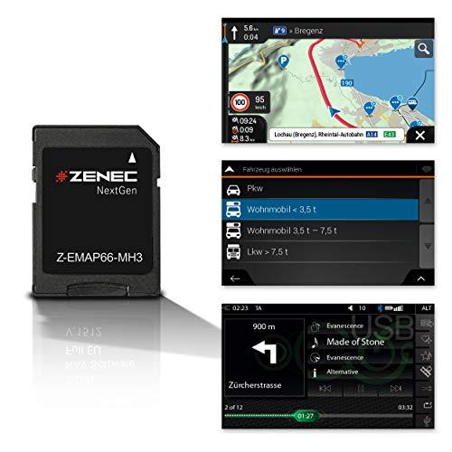 ZENEC Z-EMAP66-MH3: Micro SD-Karte mit Reisemobil Navigation für ZENEC Autoradios/Multimediasysteme Z-E3766, Z-N965, Z-N966, 3-D Karten für Europa, Camping P.O.I. für Wohnmobile, TMC