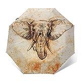 Paraguas Plegable Automático Impermeable Mandala de Elefante 26, Paraguas De Viaje Compacto a Prueba De Viento, Folding Umbrella, Dosel Reforzado, Mango Ergonómico