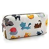 LParkin Cute Cat Pencil Case Make Up Case Cosmetic Bag Stationary Kawaii Pencil Box Pouch Teacher Gift Gadget Bag