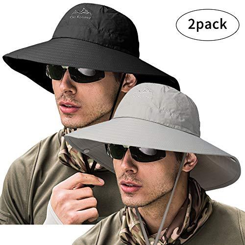 ZOORON Fishing Bucket Hat for Men,Waterproof Wide Brim, Size No Size (2pack-Black & Light Gray)