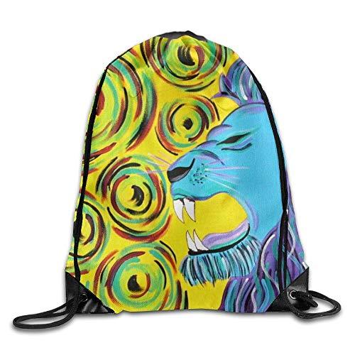 Etryrt Prämie Turnbeutel,Sporttaschen, Swirls Lion Howl Unisex Home Gym Sack Bag Sport Drawstring Backpack Bag