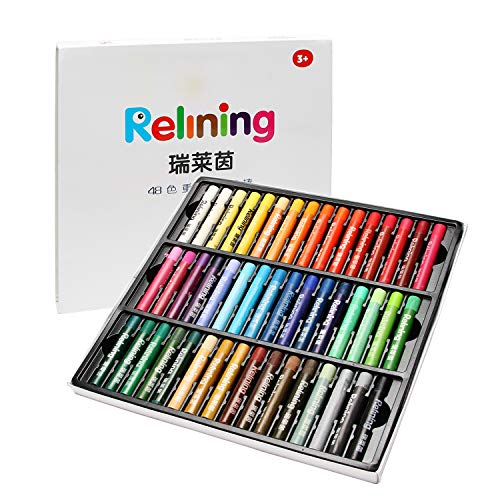 Non Toxic Soft Oil Pastels Set of 48 Assorted Colors Bundle with Rubber Pastel Erasers for Artist and Professionals