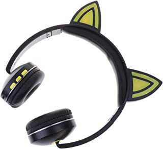 Baosity Bluetooth Wireless Over-Ear Headphone with Microphone, Noise Isolating Memory Foam,Flickerable Lamp - Yellow