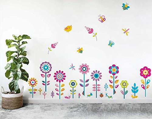 Runtoo Pegatinas de Pared Flores Stickers Adhesivos Vinilo Ventanas Cristal Macetas Mariposas...