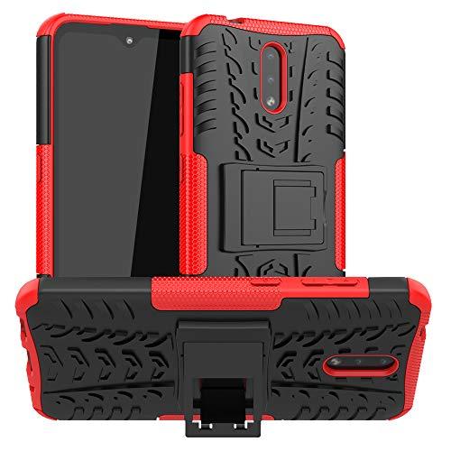 LFDZ Nokia 2.3 2019 Hülle,Abdeckung Cover schutzhülle Tough Strong Rugged Shock Proof Heavy Duty Hülle Für Nokia 2.3 2019(Not fit Nokia 2.2),Rot