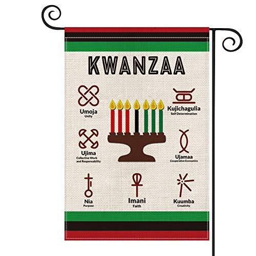 AVOIN Kwanzaa Kinara Candles Garden Flag Vertical Double Sized, African Heritage Unity Self-Determination Collective Cooperative Purpose Creativity Faith Yard Outdoor Decoration 12.5 x 18 Inch