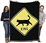 Cat Xing Blanket Throw Woven from Cotton - Made in The USA (72x54)