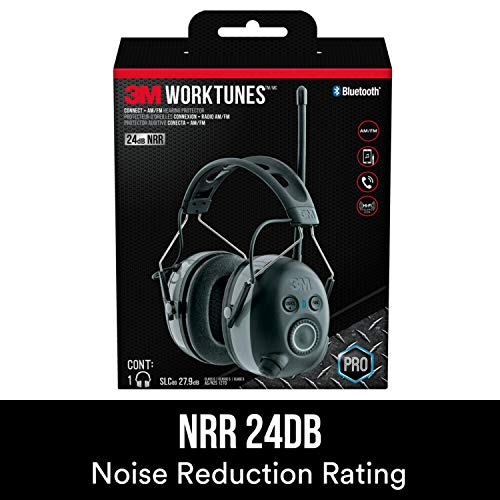 3M WorkTunes Connect + AM/FM Hearing Protector with Bluetooth Technology, Ear protection for Mowing, Snowblowing, Construction, Work Shops