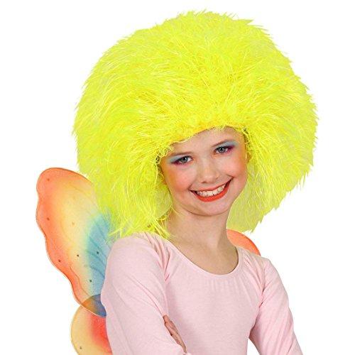 Amakando Perruque Papillon Conte de fées Cheveux ondulés Enfants Clown Jaune Fluo crinière galopin fête d'enfants Anniversaire Accessoire