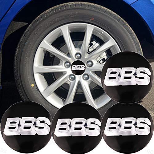 QDX 4 x Aufkleber für Radnabenkappen, rostfrei, Aluminium, Autoreifen-Logo, Mittelabdeckung, Sonnenschutzmittel, Radnabenabdeckung, Stick, 56 mm (2,2 Zoll) Lenkradbeschriftung, BBS-Logo (schwarz)