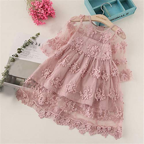 Leuke rok met patroon Jurk kinderen rok schattig klein rokje meisje jurk patroon comfortabele korte mouw jurk hjm ertongqun (Couleur : Pink, Taille américaine des enfants : 8T)