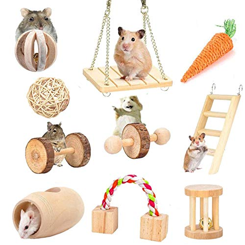 ESRISE Hamster Chew Toys, Rabbits Bunny Gerbil Rat Guinea Pig Chinchilla Natural Wooden Chew Toys, Dumbbells Exercise Bell Roller Teeth Care Molar Toy