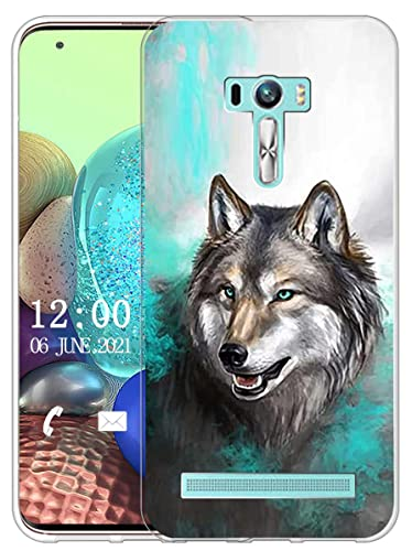 Sunrive Kompatibel mit Asus Zenfone Selfie ZD551KL Hülle Silikon, Transparent Handyhülle Schutzhülle Etui Hülle (X Wolf 1)+Gratis Universal Eingabestift MEHRWEG