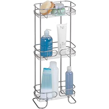 lozioni e altri accessori bagno Per shampoo Bronzo gel Portaoggetti e portasapone doccia a 3 piani mDesign Scaffale doccia angolare da terra balsamo