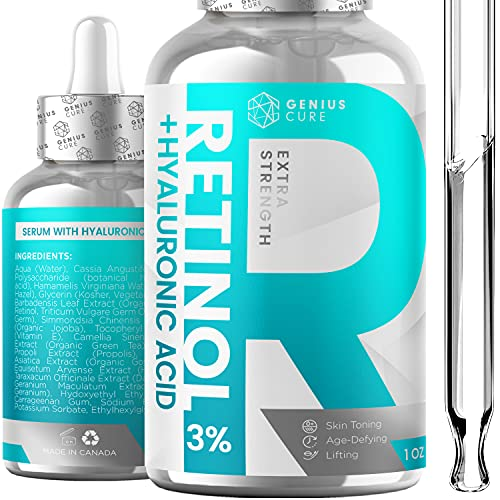 Retinol & Hyaluronic Acid Serum Anti Aging & Anti Wrinkle Serum, Boost Collagen Production and Effectively Reduce Wrinkles For Face & Eyes 1fl oz