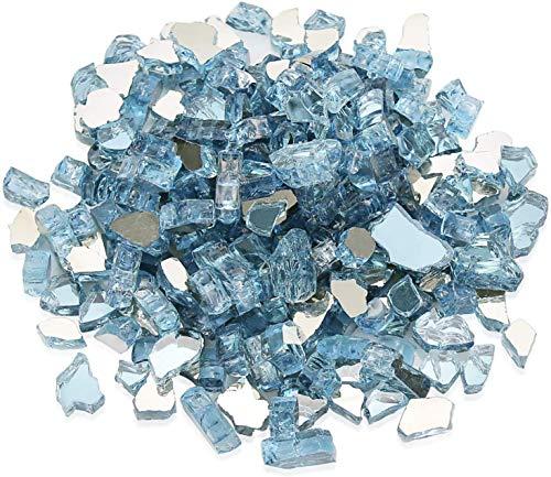 Hisencn Aqua Blue Reflektierendes Feuerglas für Feuerstelle, 1/2 Zoll Glassteine für Außen und Innen Natur- oder Propangas-Kamine, Feuerschalen Hochglänzend Gehärtete Landschaftsdekoration, 4,5 kg