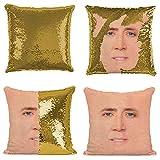 Plenty Dreams, Copricuscino con paillettes reversibili con faccia di Nicolas Cage, idea regalo per Natale e luna di miele, Paillettes dorate., 40 x 40 Centimeters