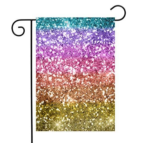 EU Regenbogen Textur Glitter Flags Seasonnal Urlaub Willkommen Stopper Outdoor Home Decor Geschenk (12