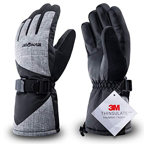 RIVMOUNT Winter Ski Gloves for Men Women,3M Thinsulate Keep Warm Waterproof Gloves for Cold Weather Outside RSG601(Black&Grey M)