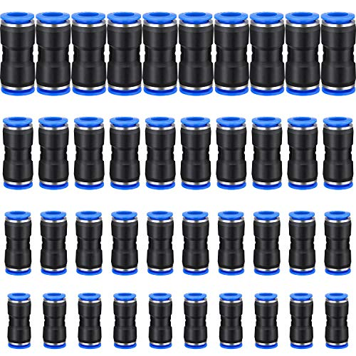 40 Pieces Straight Push Connectors, 6/8 /10/12 mm Quick Release Pneumatic Connectors Air Line Fittings for 1/4 5/16 3/8 1/2 Tube (2 Way)