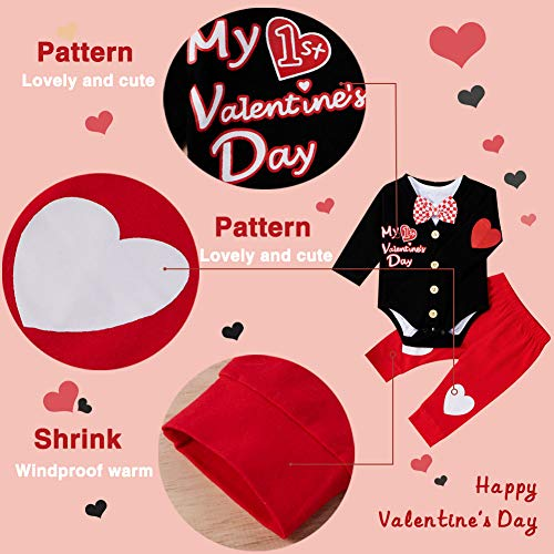 XIFAMNIY Baby Boys Valentine's Outfit Gentleman Suit 3Pcs Pants and Top Sets Newborn (Valentine's-Black, 3-6 Months)