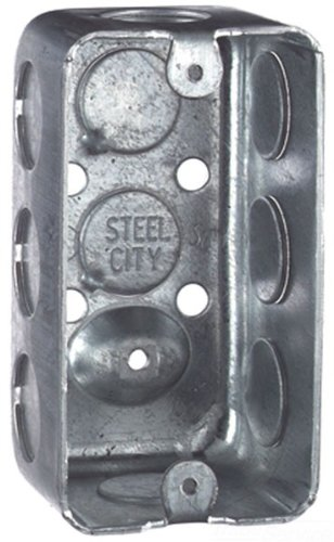 Steel City 58361-1/2 Handy/Utility Outlet Box, Drawn Construction, 4-Inch Length by 2-1/8-Inch Width by 1-7/8-Inch Depth, Galvanized