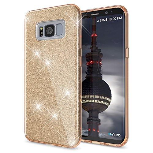 NALIA Handyhülle kompatibel mit Samsung Galaxy S8 Plus, Glitzer Slim Silikon-Case Back-Cover Schutzhülle, Glitter Sparkle Handy-Tasche Bumper, Dünne Bling Strass Smart-Phone Hülle, Farbe:Gold