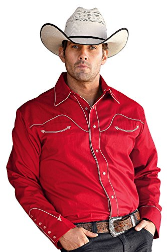 Star & Stripes Chemise western pour homme Rouge - Rouge - M
