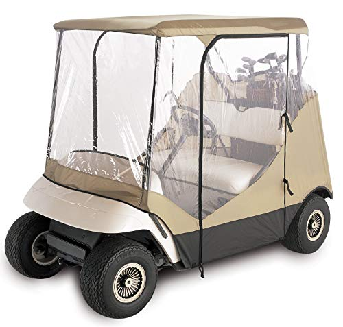 Classic Accessories Fairway Travel 4-Sided 2-Person Golf Cart Enclosure, Tan (Renewed)