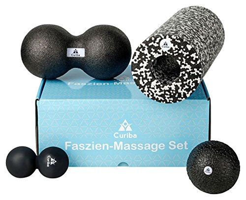 4 in 1 Faszien Set inkl. Anleitung - 3 Massagebälle (Einzelball 10 cm, Großer Duoball, Kleiner Duoball) & Faszienrolle für Rücken, Wirbelsäule, Nacken, Beine etc.