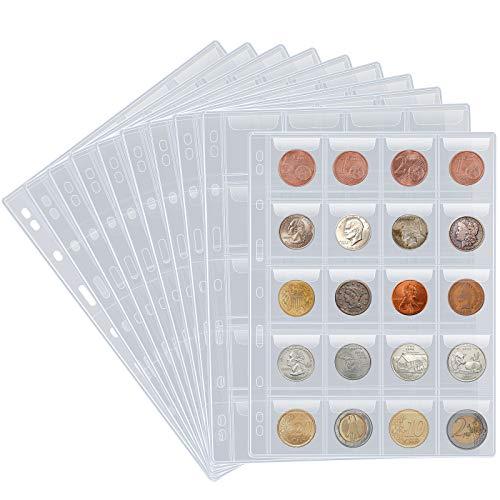 10 fogli di pagine per raccoglitore di monete, con 200 tasche e portamonete per inserire buste standard a 9 fori per album di monete, portamonete per monete, timbri e altre scorte