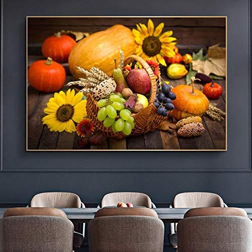 KWzEQ Leinwanddrucke Gemüse und Obst Bilder Poster und Dekoration für Wohnzimmer60x90cmRahmenlose Malerei